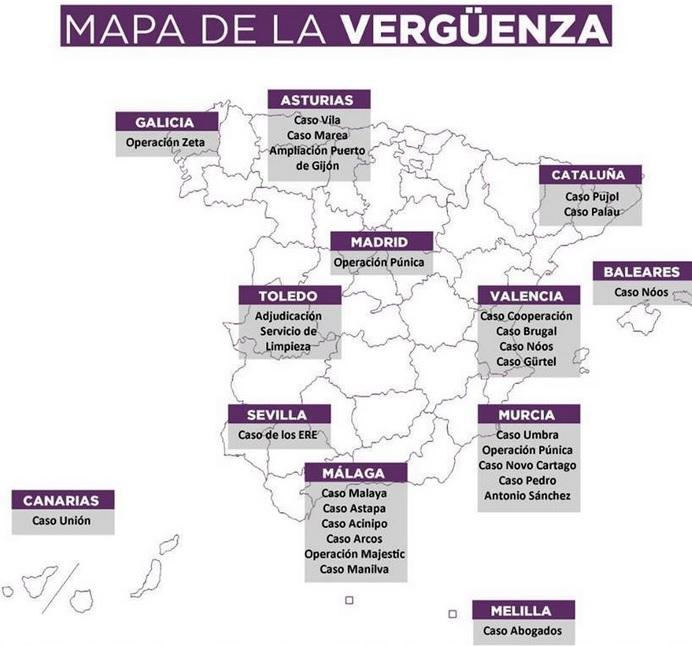 Mapa de la corrupción - Podemos y su estrategia de NO posicionamiento | Estratedi, empresa de marketing en las rozas