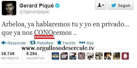 Tweet Gerard Pique contra Álvaro Arbeloa | Estratedi, empresa de Marketing en Las Rozas